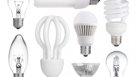 set of incandescent, halogen, compact fluorescent, LED bulb